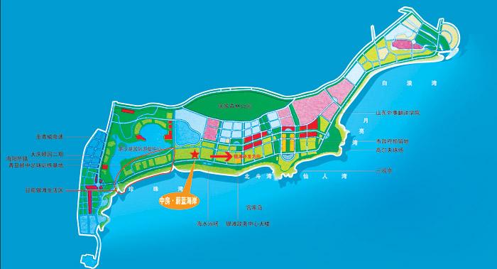 银滩到青岛机场地图